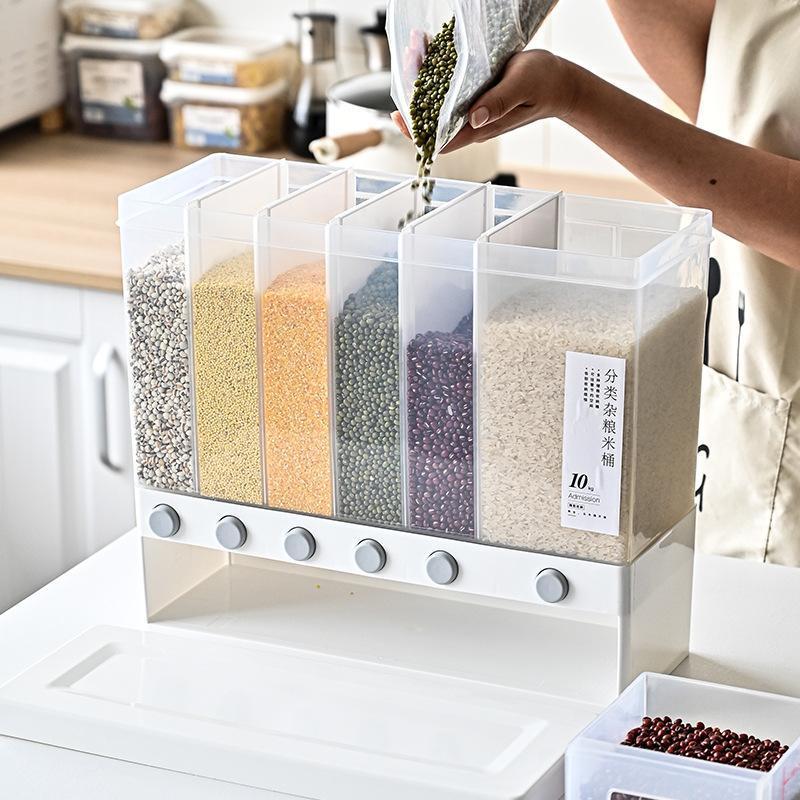 10L murale séparée riz Bucket céréales Distributeur automatique d'humidité Preuve Racks en plastique scellés de mesure Boîte de rangement