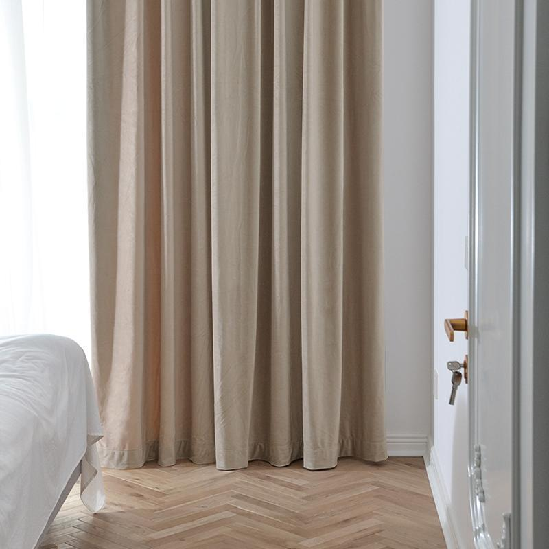 French Luxury Velvet Modern Fresh Light Beige Living Room Bedroom Living Room Curtains