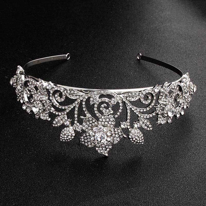 Retro monili barocca nuovo modo brillante fiore di cristallo principessa Diademi Corone Diadem Sposa Noiva dei capelli del partito di nozze