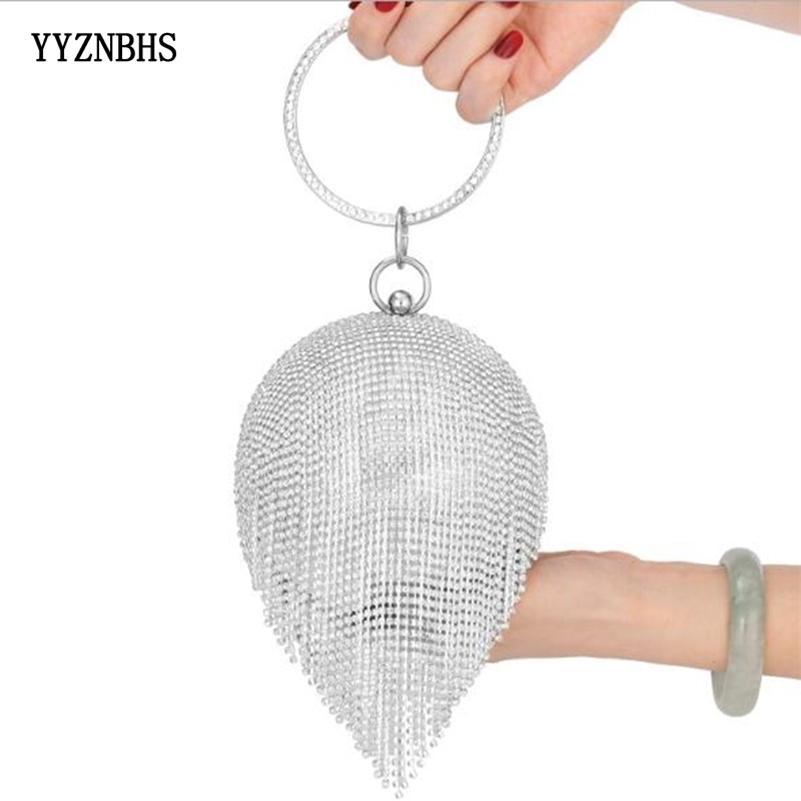 Golden Diamond Tassel Femmes Party Métal Crystal Crystal Embrayages Sac Soirée Sac de mariage Bridal Sac à main de luxe Noir Argent Porte-monnaie 201204