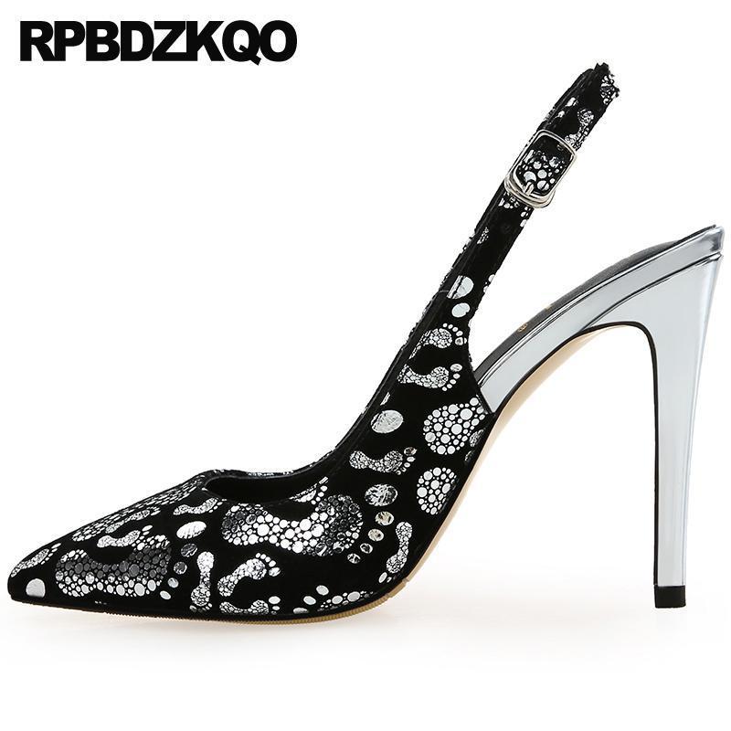 super daim noir dames marque ultra hauts talons bas chaussures en peau de mouton femmes 12 44 bout pointu pompes minces, plus la taille slingback 11 43