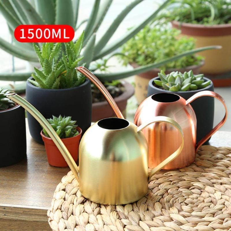 Acero inoxidable Regadera de riego del metal Pot Home Office plantas de jardín Hervidor Oro Plata Rose Glod 1500ml