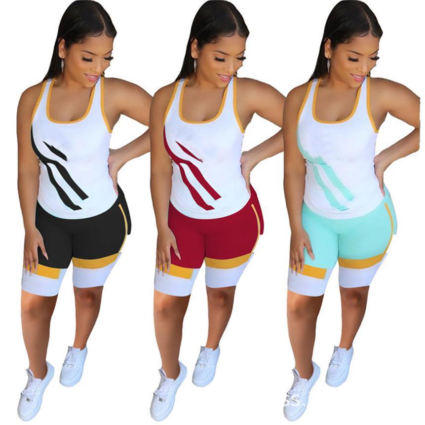 Frauen Casual Sweatsuit Shorts 2 Stück Set getäfelte Joggeranzug Sleeveless T-shirts + kurze Hosen Sommerkleidung Kontakt Farbausstattung 2961