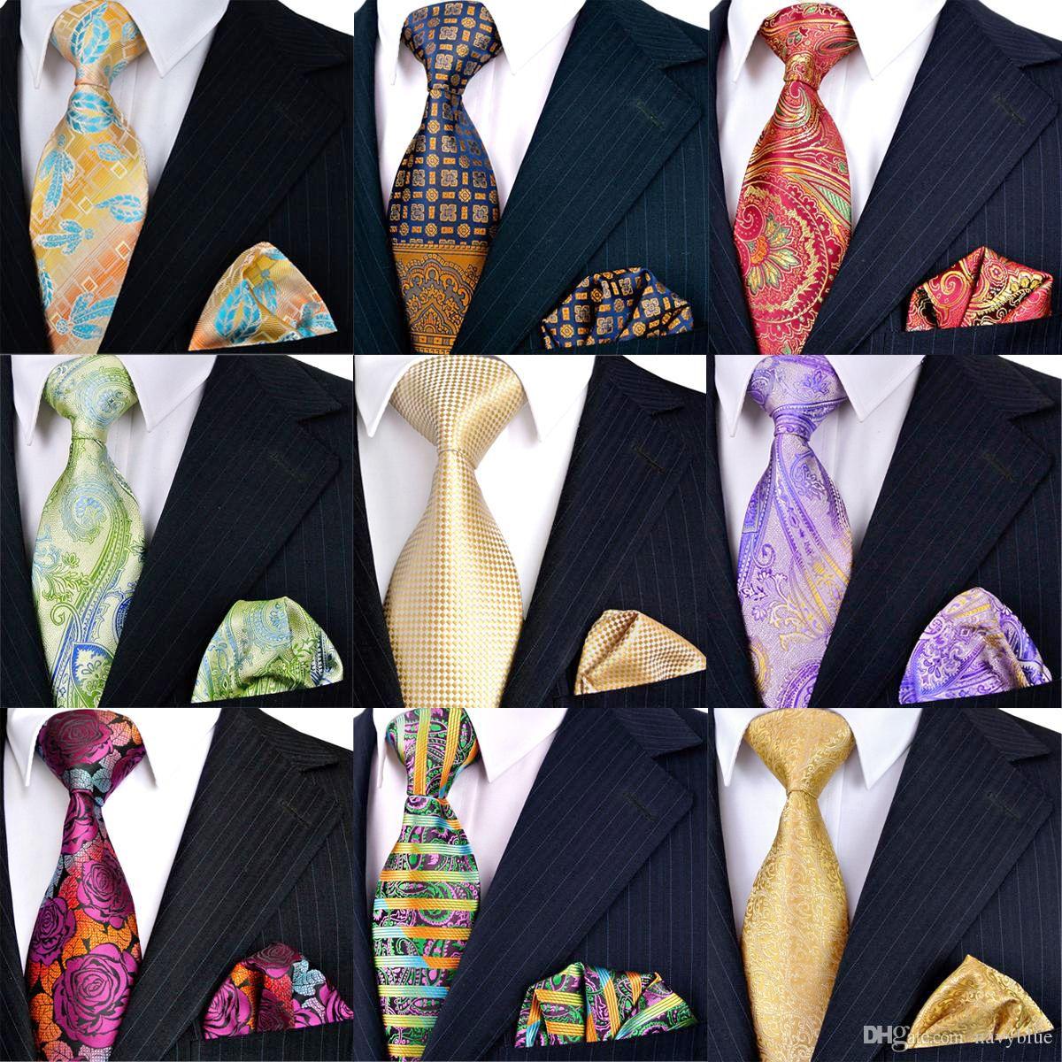 التعادل مجموعات قطع بالجملة بيع اليدوية الرجال ربطة العنق ساحة الجيب 100٪ وصول الحرير الجاكار المنسوجة المنديل العلامة التجارية الجديدة شحن مجاني جديد