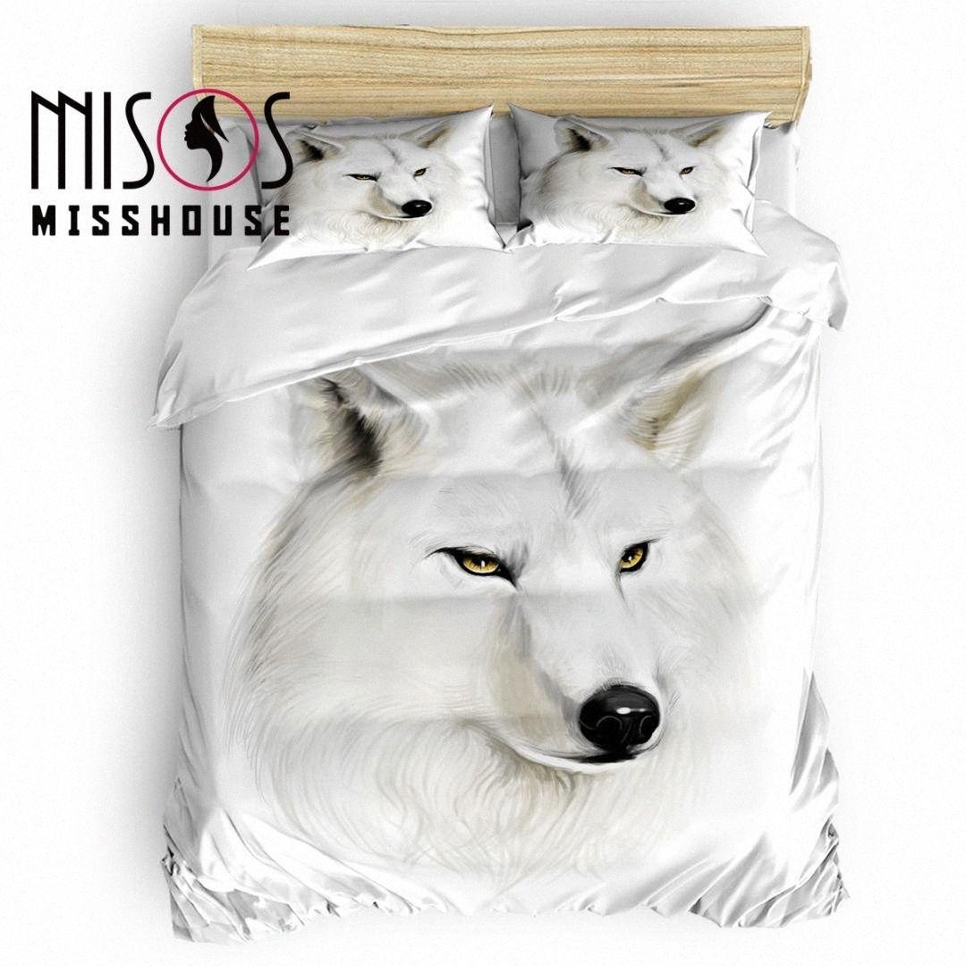 MISSHOUSE Animal White Wolf cubierta del Duvet de las hojas de cama edredón cubierta de almohada sistemas del lecho La F8kX #