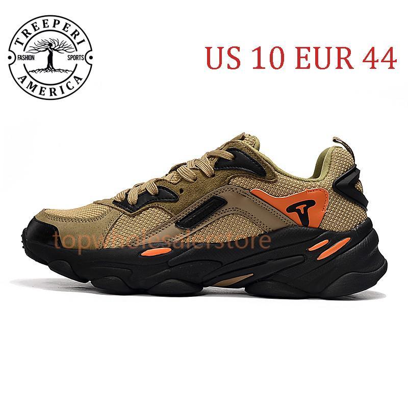 أفضل Treeperi الأزياء مكتنزة 700 أحذية الركض الوحيد الناعمة الأسود الزيتون مجموع البرتقال الولايات المتحدة 10 يورو 44 للرجال المدربين