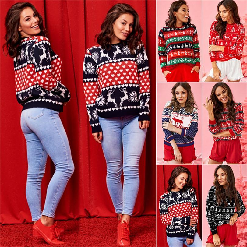 Женщины свитер Лучшие рождественские олени Leopard Лоскутная вокруг шеи моды с длинным рукавом футболки Осень Теплый Мода Повседневная одежда E101902