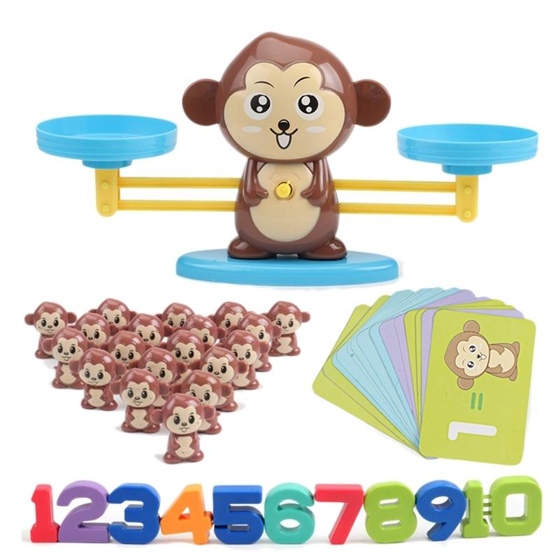 Monkey Digital Balance Scale Toy Early Learning Balance Children Enlightenment Digital Addition and Subtraction Math Scales Toys LJ200907