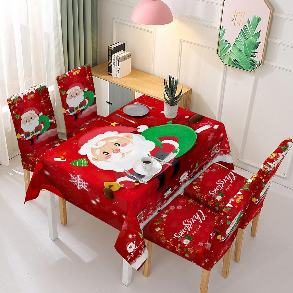 Tablecloth Christmas Chair Cover Kitchen Dining Table Decorations Waterproof Elasticity Party Desk Covers for Dropshipping 7QD0
