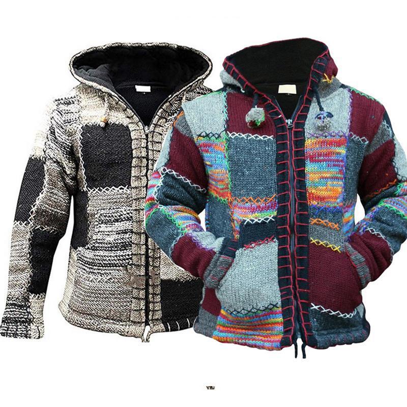 2020 Hiver Hommes Zipper capuche Patchwork Tricots Automne Fashion pull en tricot Sweatercoat Manteau Casual Casaco Masculina