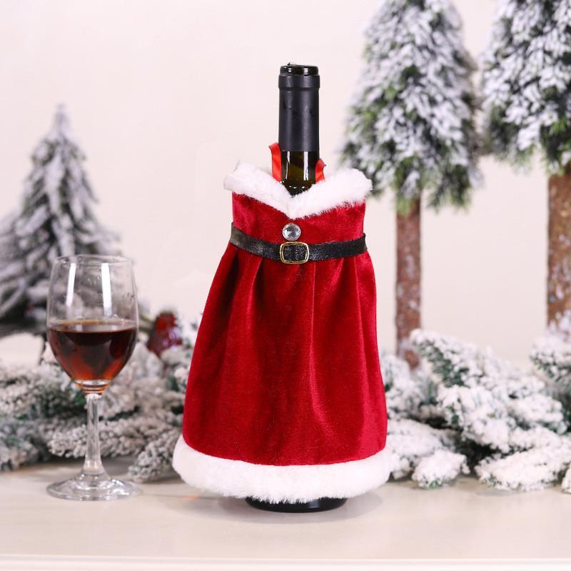 Feliz Navidad Vestido Falda Cubierta de Botella de Vino Año Nuevo Decoraciones de Navidad para Decoración del Hogar Regalos de Navidad HWB2370