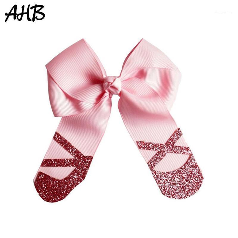 "AHB 4 ""Zapatos de ballet Aleme Bows Hecho a mano Glitter Imprimir Bowknot Play Clips para las niñas Volver a la escuela Danza Fiesta Accesorios para el cabello1"