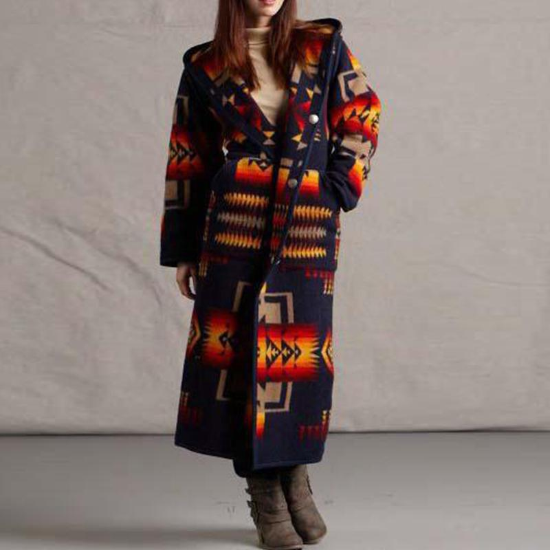 Women's Trench Coat Oversized 2020 Autumn Vintage Mid-length Printed Coats Tops Winter New Long Sleeve Woolen Jackts OuterwearX1016