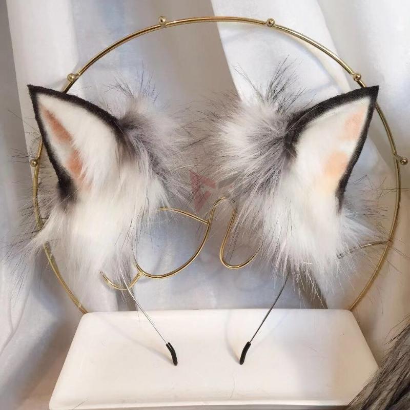 MMGG Nouveau Noir Argent Petit Loup Lait oreilles fantaisie Hoop cheveux Épingle Chapellerie de femme fille accessoires costume