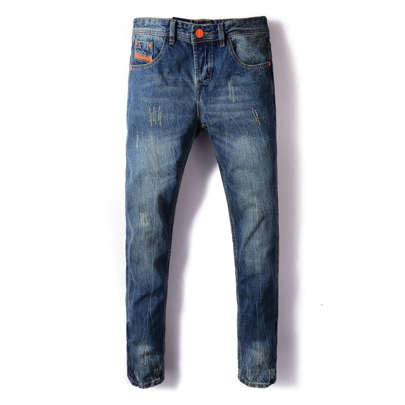 Moda de Calle Recta Fit Color Azul rasgado clásicos de hombres de mezclilla pantalones de color naranja a rayas pantalones vaqueros del diseñador de la vendimia