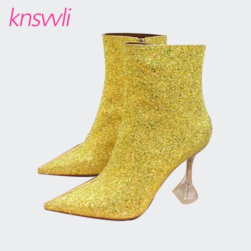 Stivali Scintillanti Scarpe da marca Scarpe triangolo Tacchi alti Caviglia Donne Pista Paillettes Party Donna Chiaro Bling Short