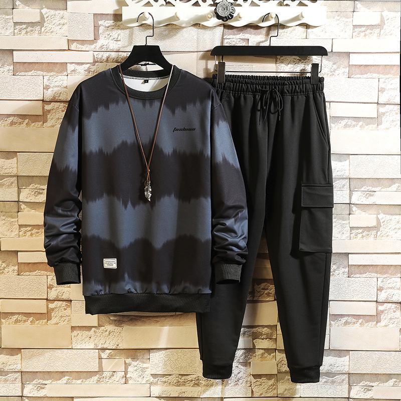 Мужские трексуиты 2021 осенью и зимой 2-х частей куртка повседневная молния Sportswear + брюки бег спортивный костюм
