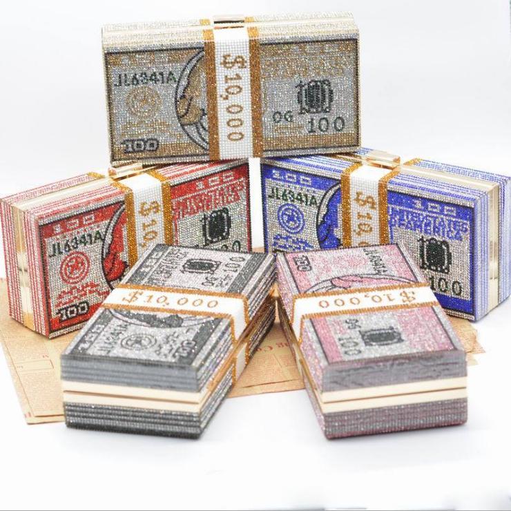 Dgrain Dollar Cash Designer Box Handtaschen-Frauen Geld Kupplungs-Geldbeutel-Abend-Beutel-Dollar Diamant-Partei-Cocktail-Geldbeutel-Hand