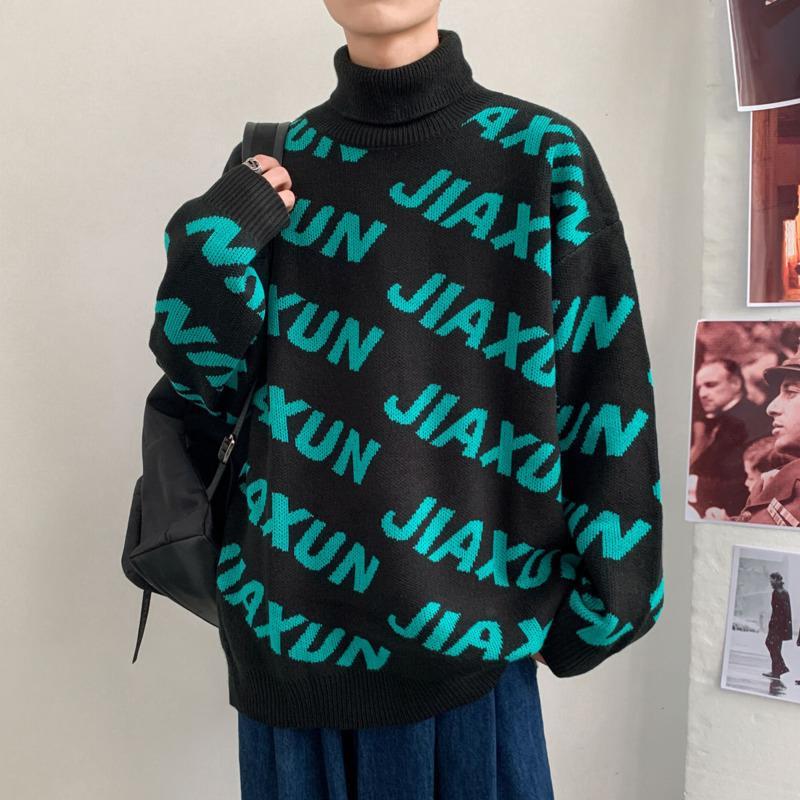 Lettera invernale TurtrleNeck Maglione uomo caldo moda casual casual pullover uomo sciolto coreano maglieria maglioni da uomo vestiti
