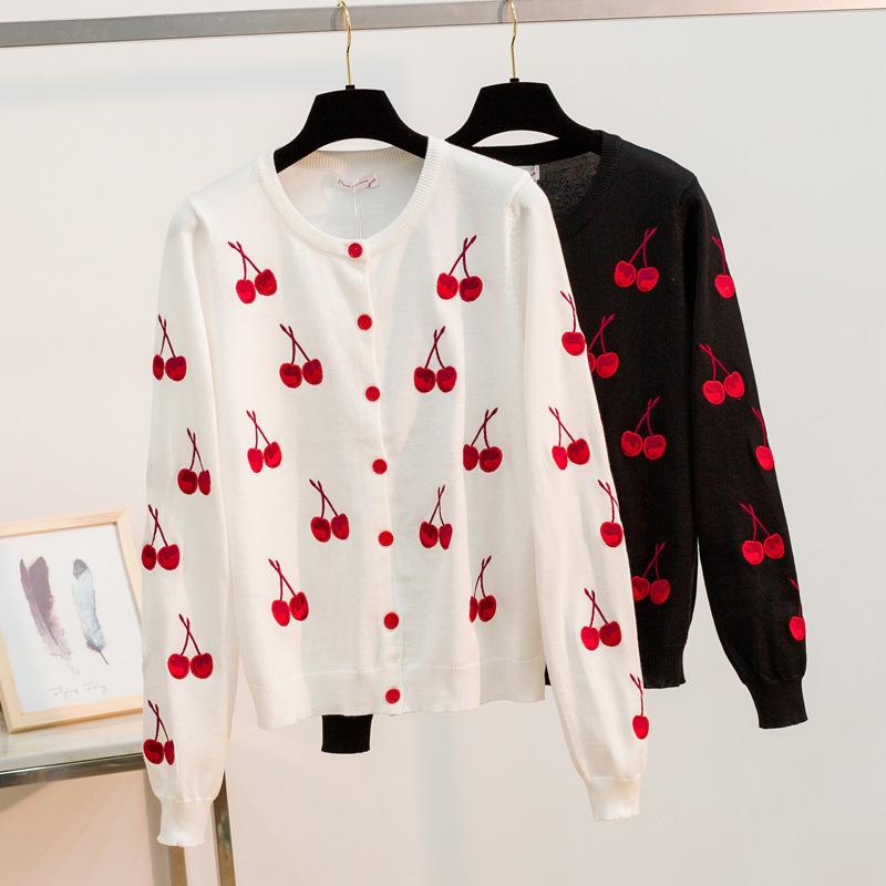Bygouby Spring Sweater Cardigans Femmes O Cou Col Cherry Impression Knitwear Simple Casuré Casual Cardigan Outwear Soft Jumper Lj201126