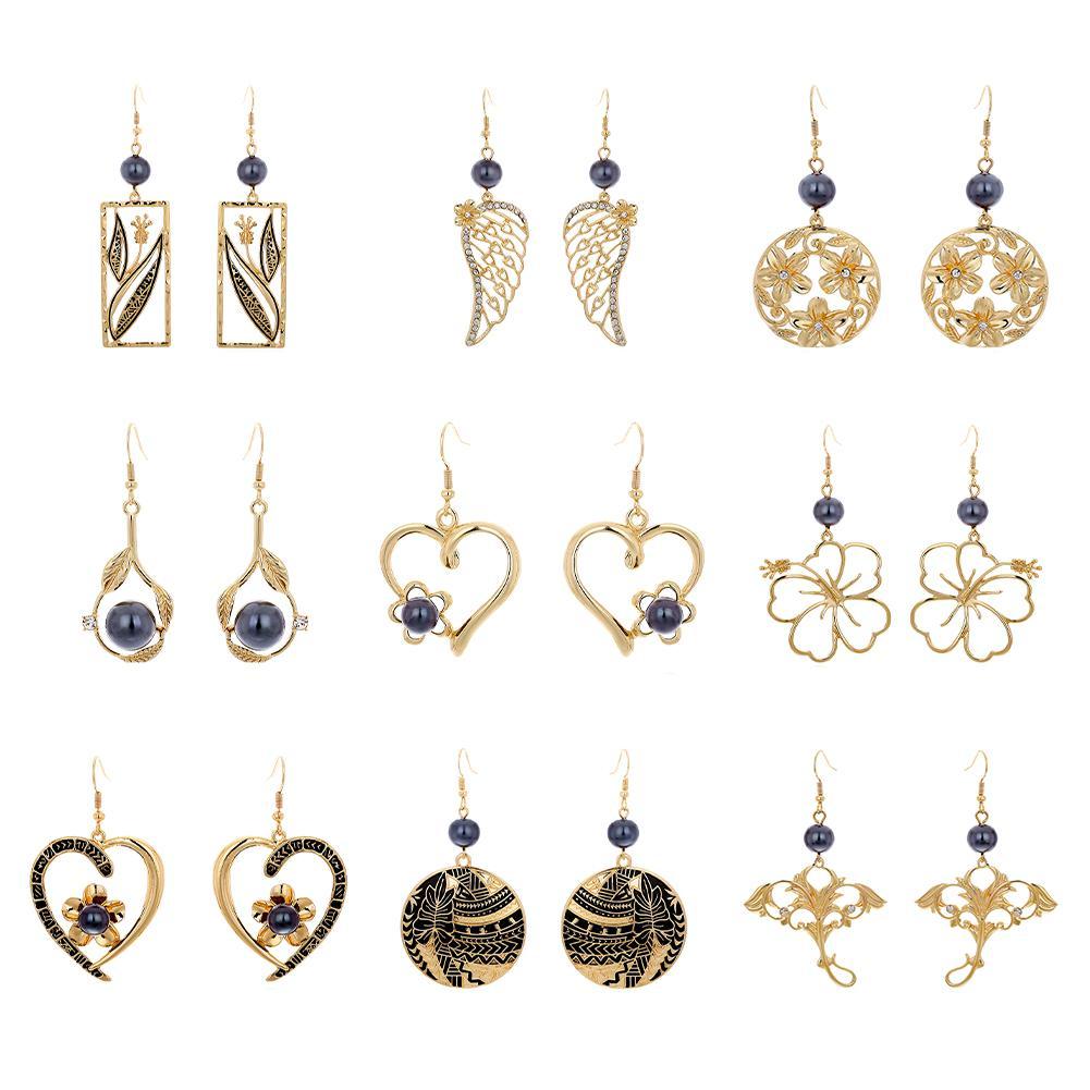 Brincos de Presentes banhado a ouro havaiano Brinco de Pérola jóias Set Geometric Gota da flor do coração havaiano Brinco Para Mulheres