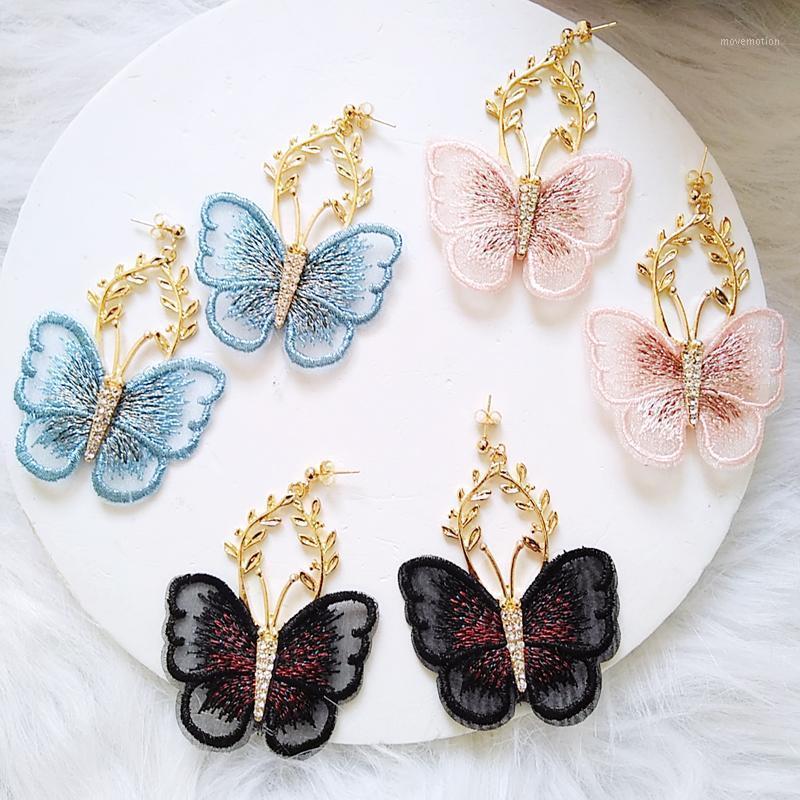 Ztech New Gold Color Metal Hollow Encaje Pendientes Mariposa Elegante Gran Ventilador En forma de Mujeres Pendientes De Derechos Accesorios De Joyería De Moda1
