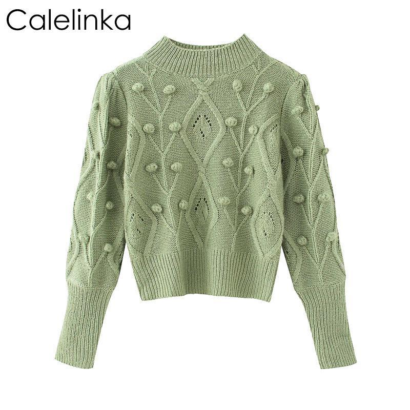 Calelinka Women 2020 Fashion With Ball Cropped Knitted Sweater Vintage O Neck Long Sleeve Female Casual Pullovers Chic Tops