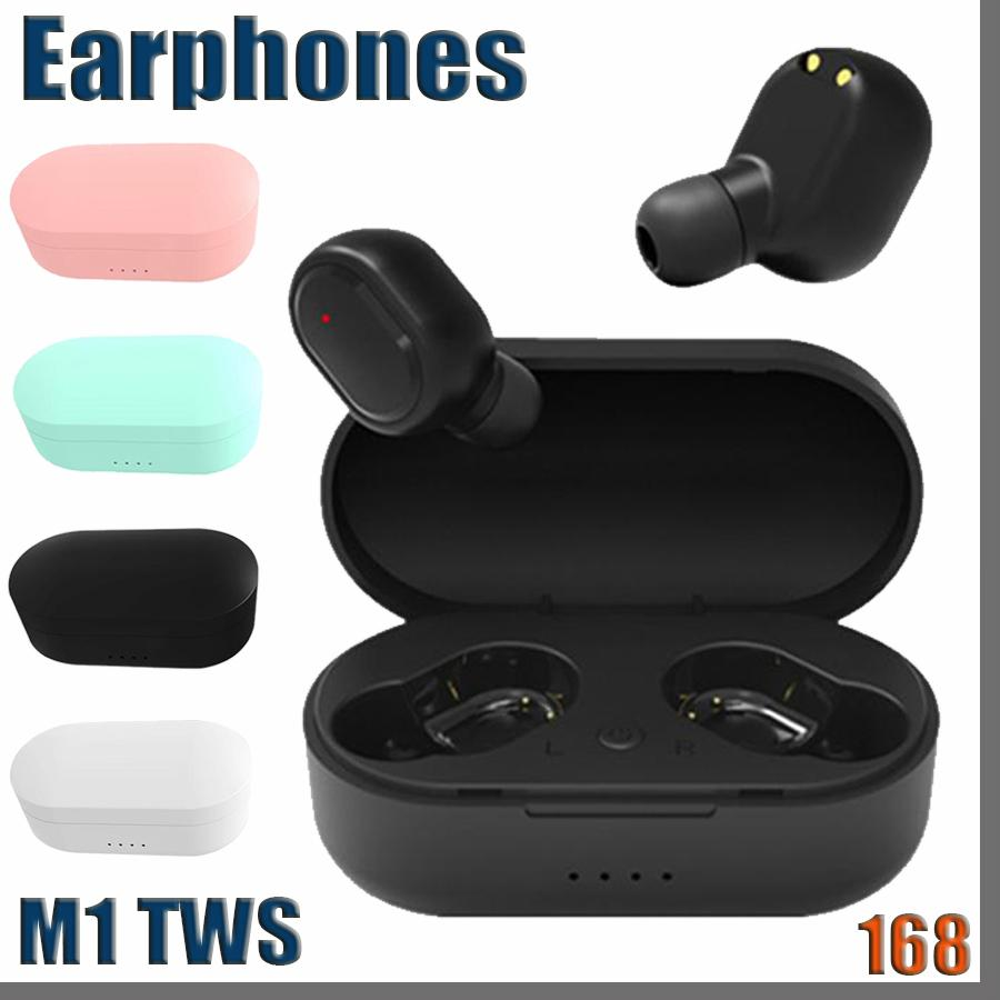 168D M1 TWS 블루투스 5.0 스포츠 스테레오 무선 블루투스 헤드폰 이어폰 다채로운 무선 헤드셋 이어 버드 뜨거운 판매