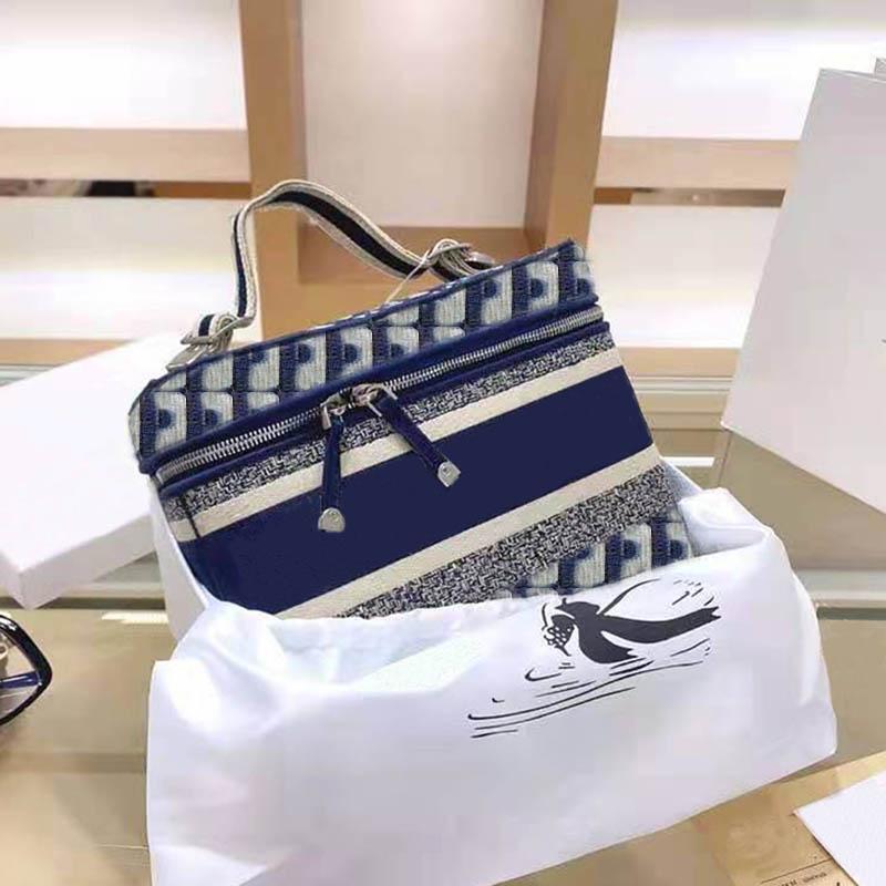 톱 럭셔리 디자이너 럭셔리 핸드백 지갑 숙녀 25cm 화장품 가방 어깨 가방 수 놓은 패브릭 패션 핸드백 고품질 대각선 가방
