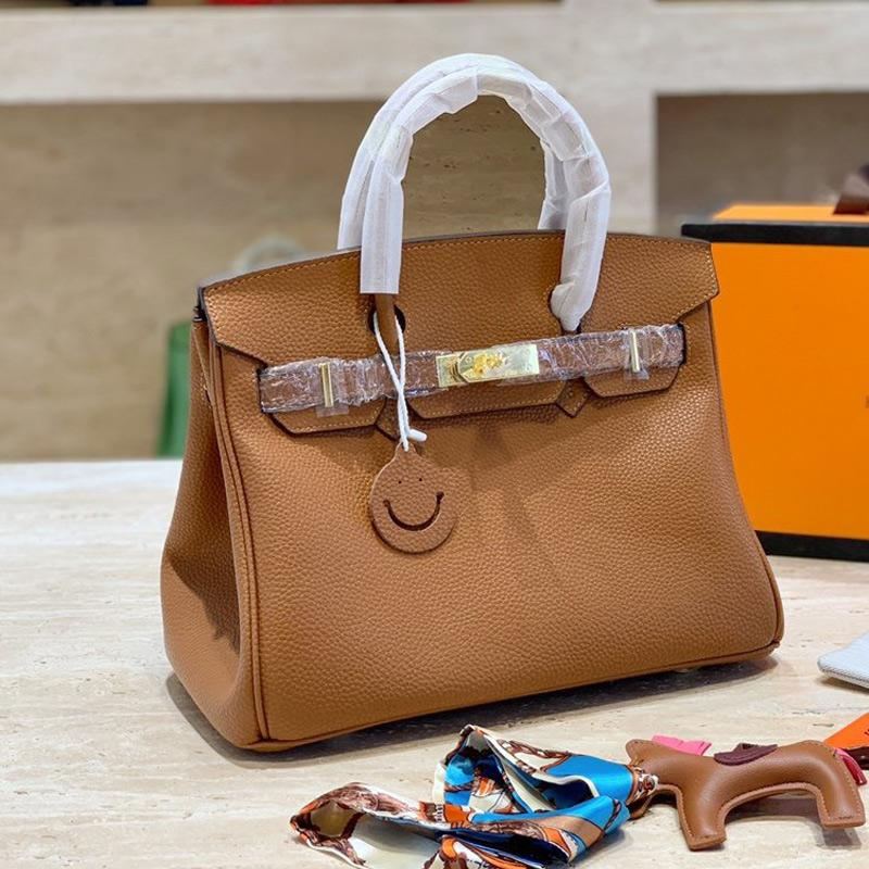 가죽 핸드백 클래식 플래티넘 가방 높은 품질 진짜 가죽 여주 곡물 일반 잠금 어깨 지갑 여성 가방 걸쇠와 실크 스카프