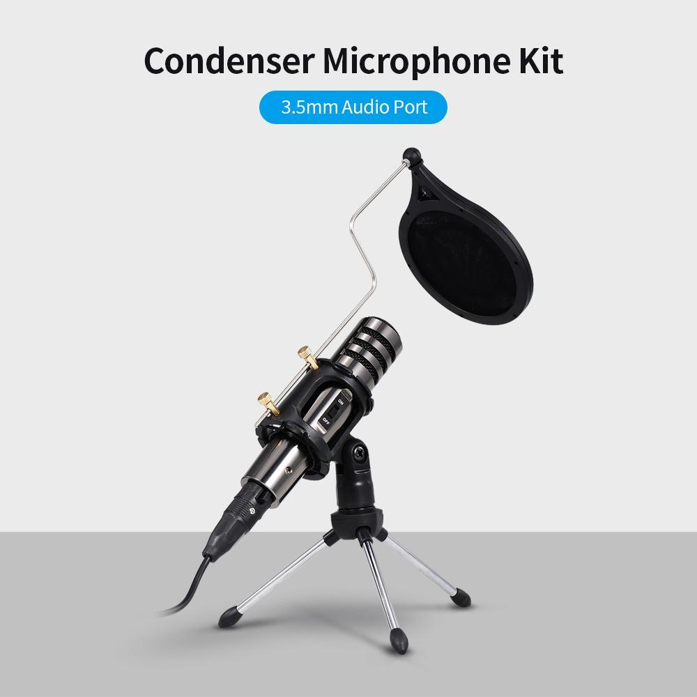 2020 الساخن متعددة الوظائف مكثف ميكروفون تسجيل ميكروفون كيت 3.5 ملليمتر الهاتف المحمول الكمبيوتر كاريوكي صوت ميكروفون مع ترايبود
