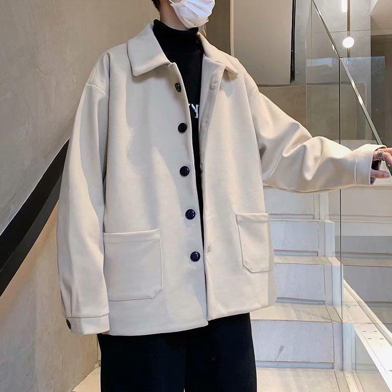 Moda coreana masculina de lã bonito outono e inverno novo casaco pesado solto