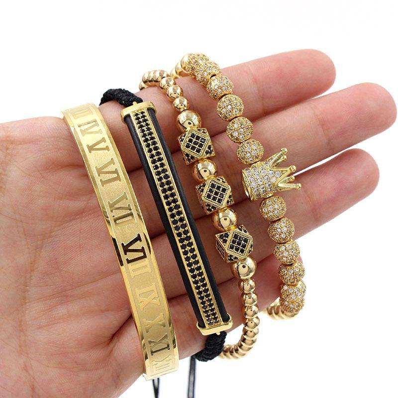 4pcs / Set Bracelet en acier inoxydable Nombre romaine Femmes Hommes Couple Bracelet or Couronne Bracelet Bijoux fantaisie