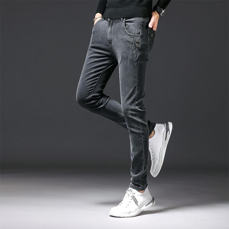 Men's Jeans 2021 Autumn Korean Slim Fit Skinny Men Clothing All Match Button Decor Comfortable Stretched Denim Trousers 27-36 Sale