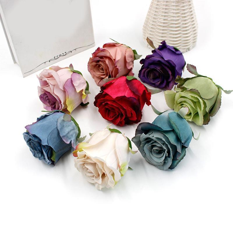 10pcs Artificial Rose Flower Heads Falso rosas de seda Flores decorações de casamento para casa artesanato DIY grinalda