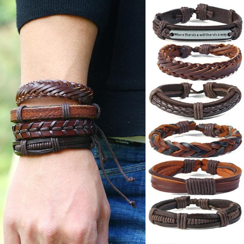 12Pcs / Set Weinlese-Mann-Leder Multi-Layer-geflochtenes Armband Schmuck Geschenke New