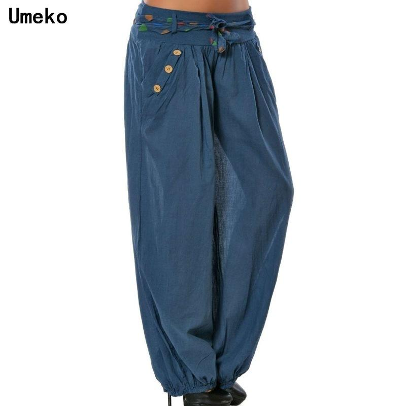 Umeko 2020 Solid Casual Long New Femmes Loose Baggy Pantalons Sport Vintage pantalon Harem Elastique Boho Beach Plus Taille