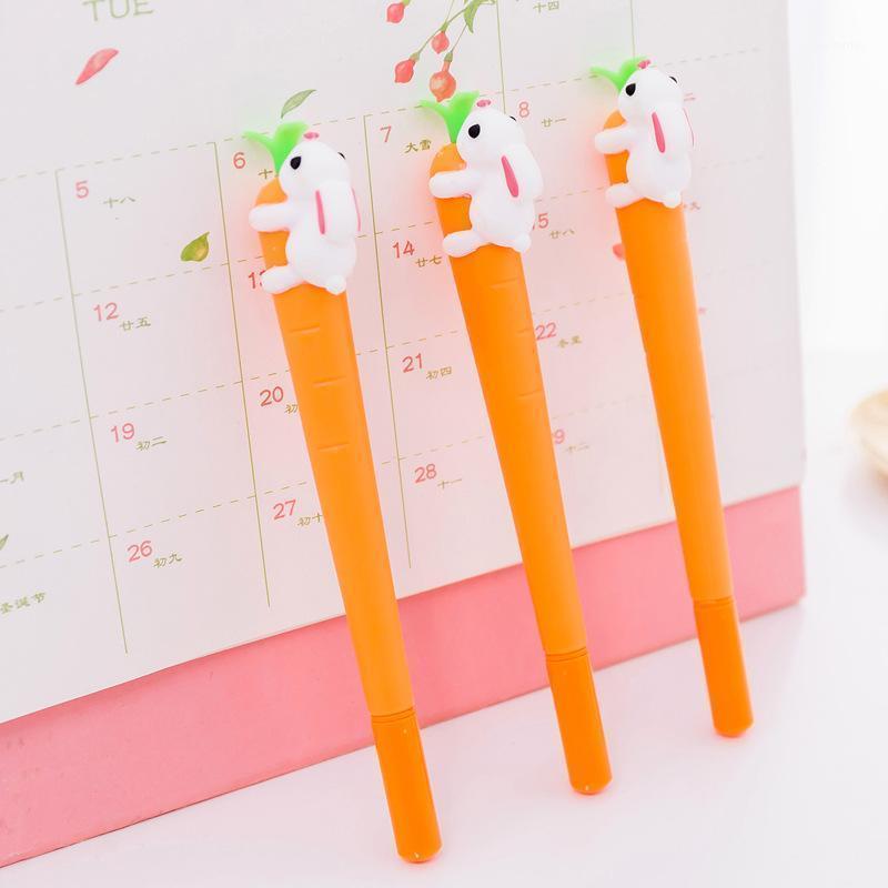 أقلام هلام 2 قطع kawaii الإبداعية الأكل جزر القلم 0.5 ملليمتر الحبر القرطاسية محايدة المواد اجتماعيون مكتب اللوازم المدرسية 1