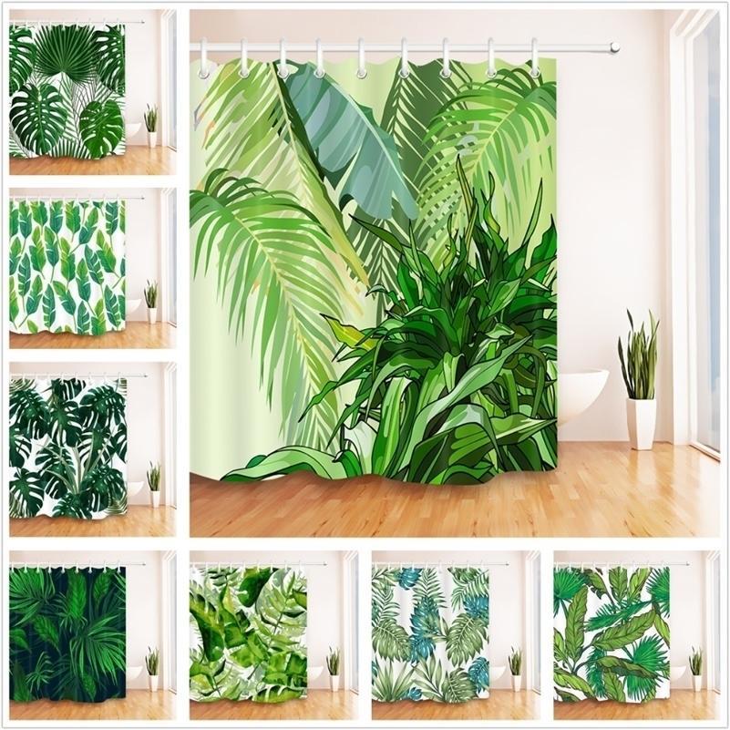 Verde deixa a cortina branca do chuveiro da selva tropical da selva da natureza da selva da natureza do poliéster da natureza da natureza da selva para a decoração 201128
