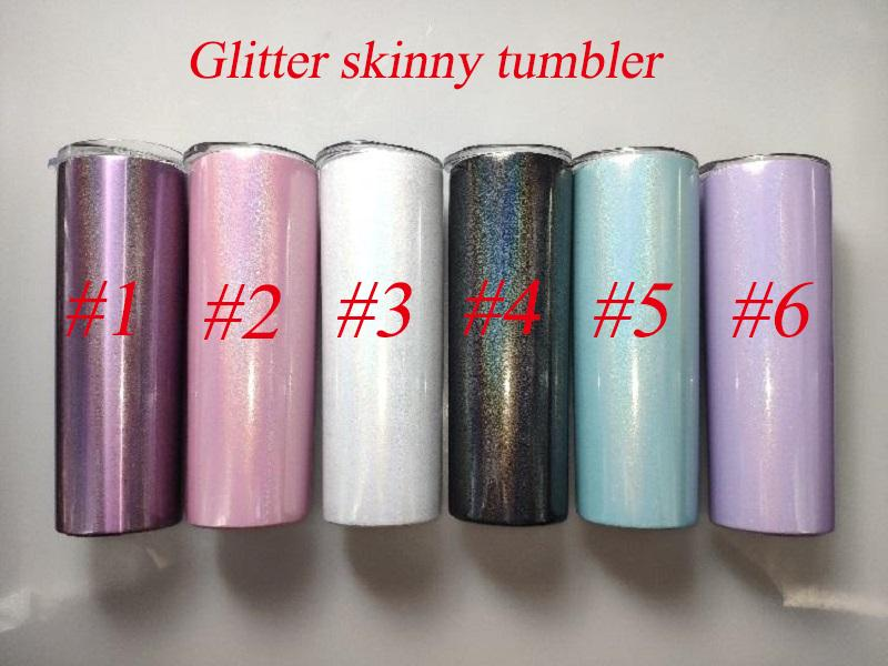 Sublimation Tumbler 20oz glittle skinny tumbler rainbow Tumbler stainless steel vacuum insulated straight cups with lids and straws
