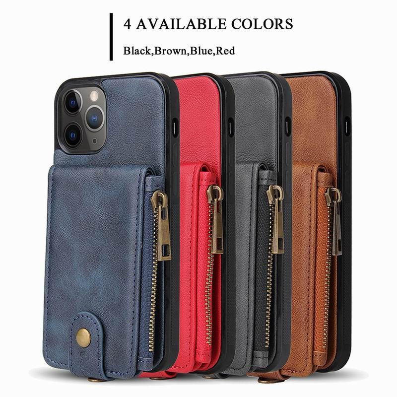 De lujo de la PU de cuero iPhine 12 casos Casos patrón de piel de vaca bolsa con cremallera de teléfono para el iPhone Pro Max 11 X 7 X SE 2020 caso de la cubierta 8 Plus Xr