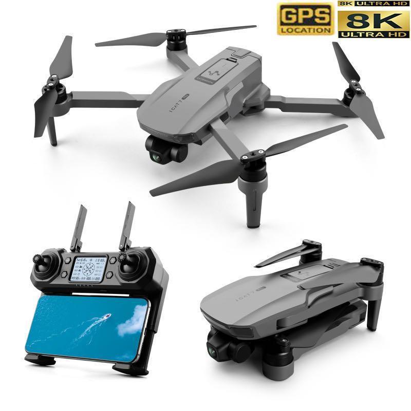 Icat7 Brushless Motor Drone mit Zweiachsen-Gimbal 4K / 8K Hd Luft Fernbedienung Flugzeug GPS fester Höhe Quadcopter