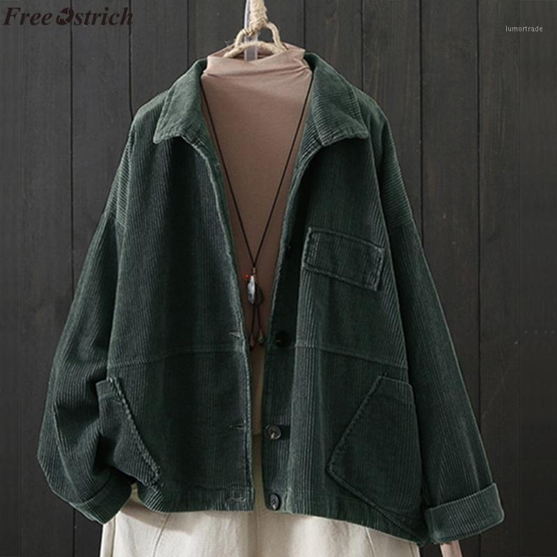 Бесплатный страус женщины повседневная кнопка пальто элегантный длинный рукав рабочая работа офис мода куртка карманы винтажные негабаритные пальто плюс размер1