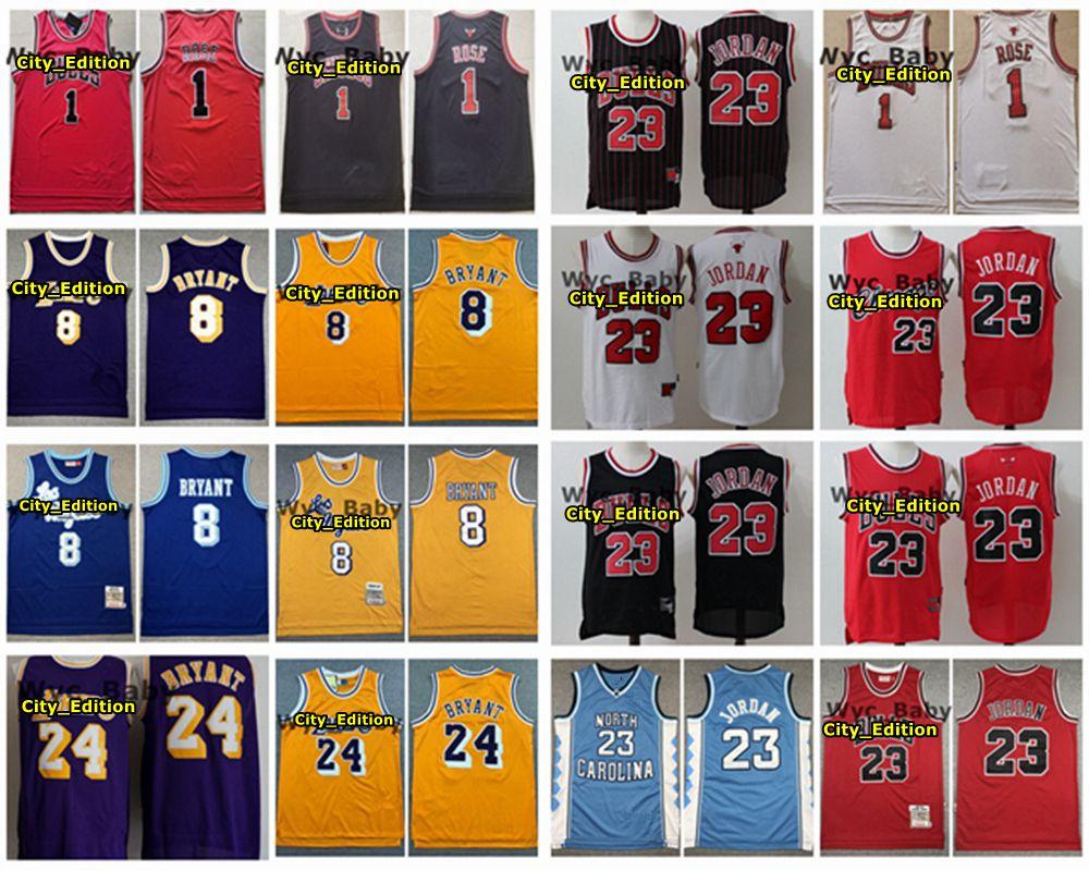 Vintage Men ChicagoBullsJersey 1 Derrick Rose 23 Michael JD Stitched Basketball Jersey Retro LakersKobeBryant Jersey