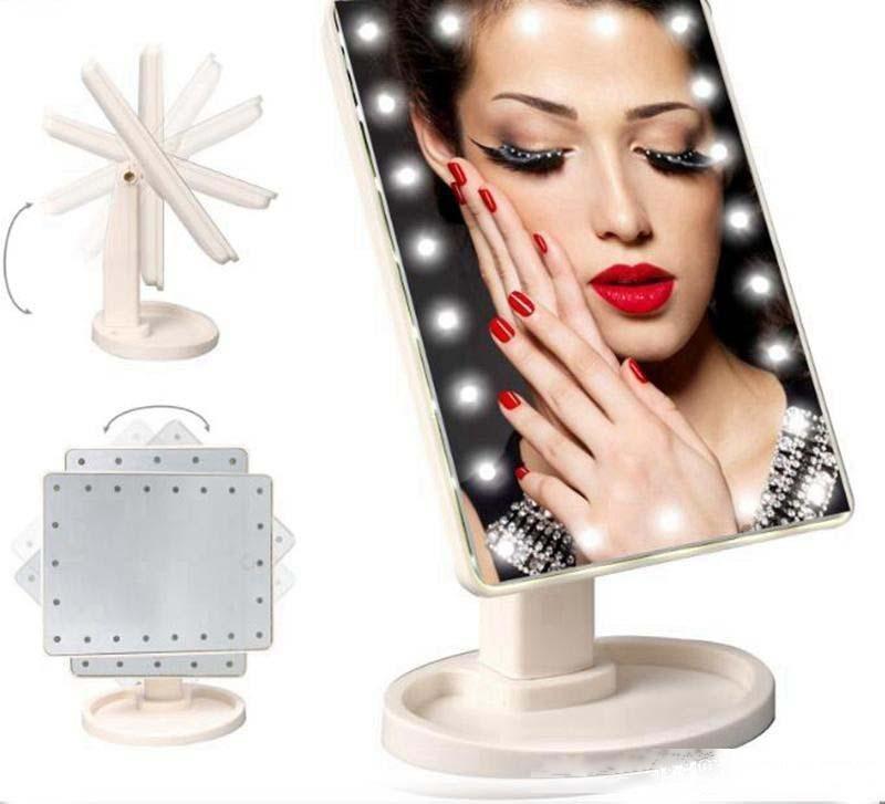 360 degrés de rotation à écran tactile Miroir de maquillage cosmétique pliant portable compact de poche avec 22 lumières LED maquillage outil gratuit DHL