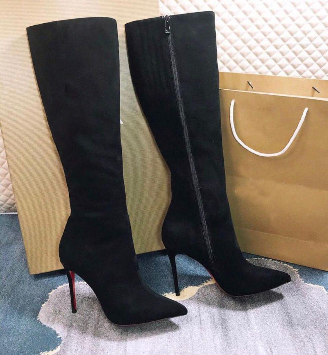Известный дизайнер Brands Элоиза Ботта Женщины Высокие сапоги Роскошные красные нижние ботинки пальца ноги Остроконечные Высокие каблуки леди пинетки сексуальных женщин Свадьба