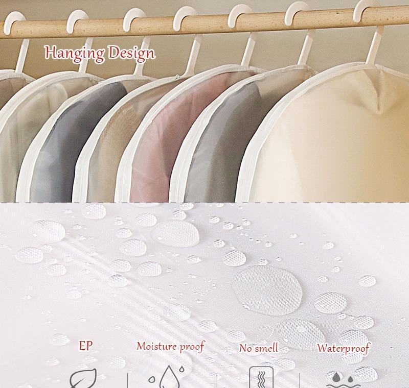 Bolsa de almacenamiento de ropa abierta lateral transparente para la camisa de la camisa de la chaqueta de la ropa de la ropa de la ropa de la ropa de la cubierta del polvo Cubierta de protección a prueba de humedad JLLLGGC XHHAIR