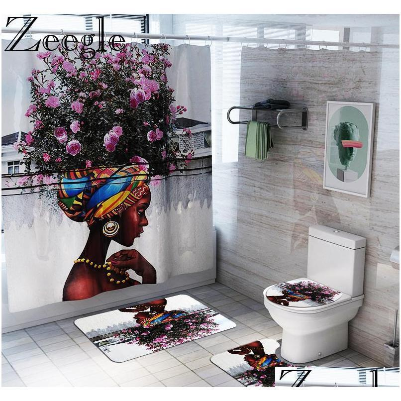 African American Women Bath Mat Shower Curtain Bath Rug Sets Bathroom Carpet Toilet Mat Set Non Slip Ho qylywq mj_bag