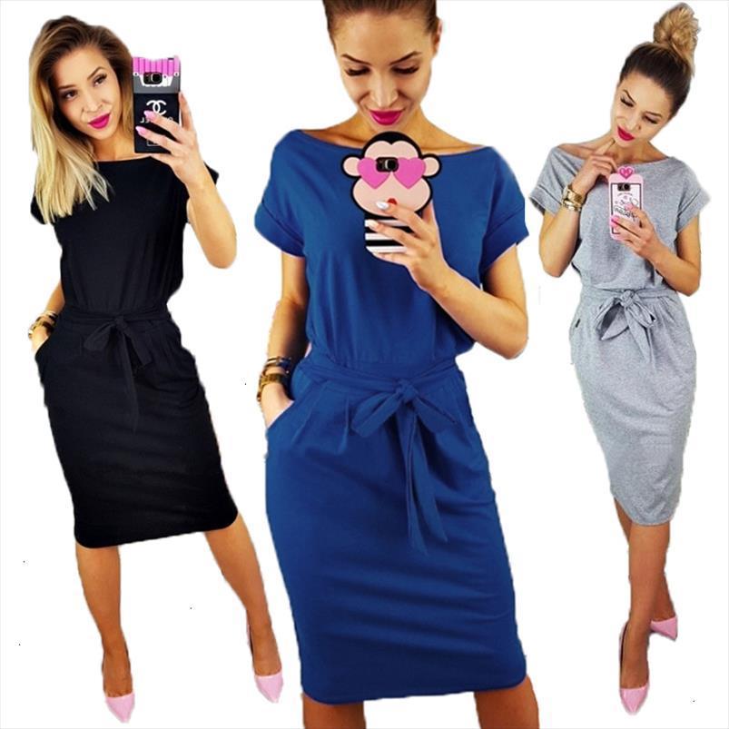 Платье лета женщин платья для дам плюс размер с коротким рукавом Свободные Casual Cotton Midi Wrap платье Женский пляж дизайнер одежды