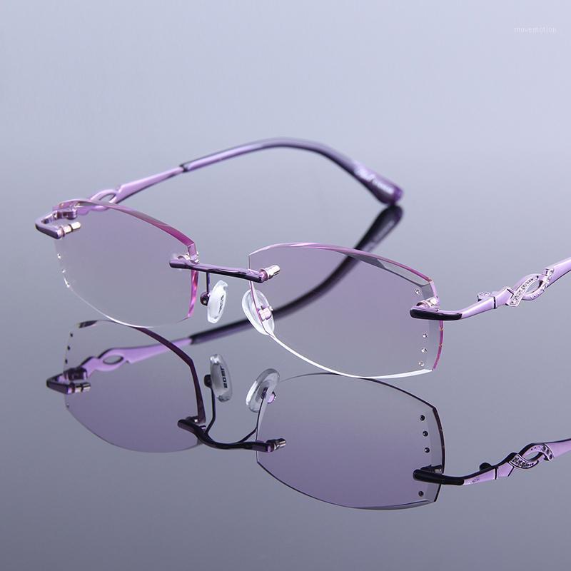 GAFAS1 Presbyopia Glasses Lente sfumata per occhiali Rhinestone Reading Donna senza montatura femminile Lussuosa Lussuità Iperopia Iperopia Telaio Isejf